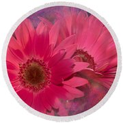 Pink Daisies Abstract Round Beach Towel