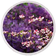 Pink Dogwood With Purple Azaleas Round Beach Towel