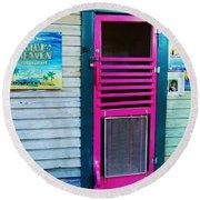 Pink Door Round Beach Towel