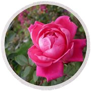 Pink Double Rose Round Beach Towel