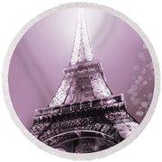 Pink Eiffel Tower Paris Round Beach Towel