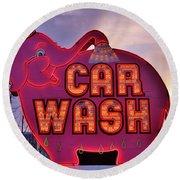 Pink Elephant Car Wash Round Beach Towel