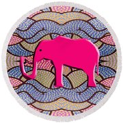 Pink Elephant Round Beach Towel by Patrick J Murphy