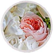 Pink English Rose Among White Roses Art Prints Round Beach Towel