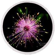 Pink Fireworks  Round Beach Towel