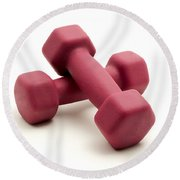 Pink Fixed-weight Dumbbells Round Beach Towel