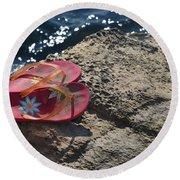 Pink Flip Flop Round Beach Towel