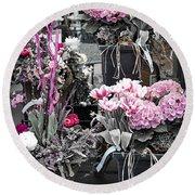 Pink Flower Arrangements Round Beach Towel by Elena Elisseeva