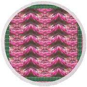 Pink Flower Petal Based Crystal Beads In Sync Wave Pattern Round Beach Towel