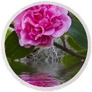 Pink Flower Reflection Round Beach Towel