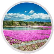 Pink Flowers Blue Sky Round Beach Towel