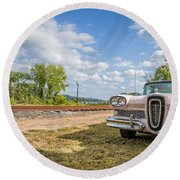 Pink Ford Edsel  Round Beach Towel