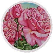 Pink Frillies Round Beach Towel