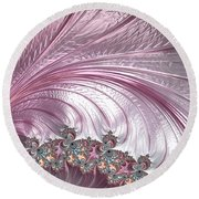 Pink Froth A Fractal Abstract Round Beach Towel