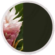 Pink Ginger Plant Round Beach Towel