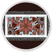 Pink Glass And Black Lace  Round Beach Towel
