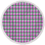 Pink Green And White Plaid Pattern Cloth Background Round Beach Towel
