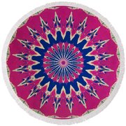 Pink Green Blue Abstract Round Beach Towel