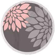 Pink Grey Peony Flowers Round Beach Towel