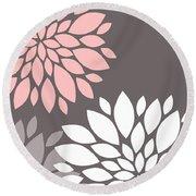 Pink Grey White Peony Flowers Round Beach Towel