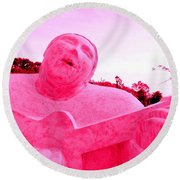 Pink Guitarist Round Beach Towel