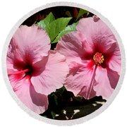 Pink Hibiscus Blooms Round Beach Towel