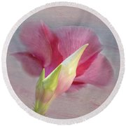 Pink Hibiscus Flower Round Beach Towel