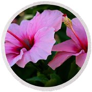 Pink Hibiscus II Round Beach Towel