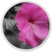 Pink Hibiscus In Partial Color Round Beach Towel