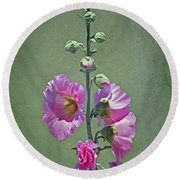 Pink Hollyhocks Round Beach Towel