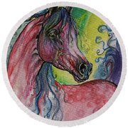 Pink Horse With Blue Mane Round Beach Towel