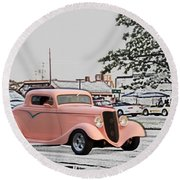 Pink Hot Rod Cruising Woodward Avenue Dream Cruise Selective Coloring Round Beach Towel