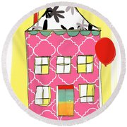 Pink House Round Beach Towel by Linda Woods