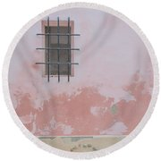Pink House With Black Iron Round Beach Towel