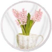 Pink Hyacinths Round Beach Towel
