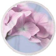 Pink Hydrangea Flower Macro Round Beach Towel