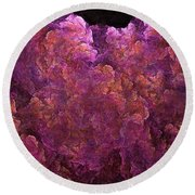 Pink Hydrangea Fractal Blossoms Round Beach Towel