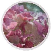 Pink Hydrangea Photoart I Round Beach Towel