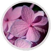 Pink Hydrangea Round Beach Towel by Rona Black