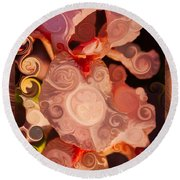 Pink Iris As A Burst Of Color Flower Abstract Art Round Beach Towel