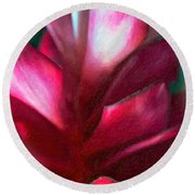 Pink Journey Impasto Round Beach Towel