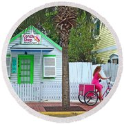 Pink Lady And The Conch Shop  Round Beach Towel
