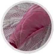 Pink Lavatera Bud Macro Round Beach Towel
