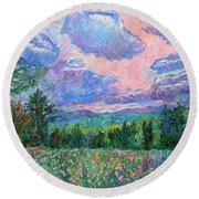 Pink Light Round Beach Towel