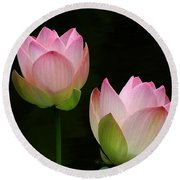 Pink Lotus Duet Round Beach Towel