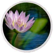Purple Petals Lotus Flower Impressionism Round Beach Towel