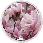 Pink Magnolia Blossoms Washington Dc Round Beach Towel