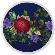 Pink Metallic Rose On Blue Round Beach Towel