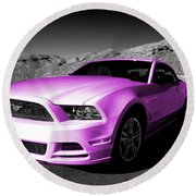 Pink Mustang  Round Beach Towel