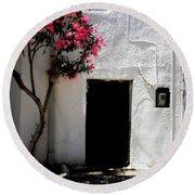 Pink Oleander By The Door Round Beach Towel